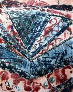 ©2014 - Cathy Read - Gherkin Abstract- Watercolour and Acrylic on canvas - 102 x 81cm - £1500 Unframed