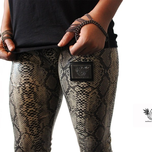 Snake Print PVC Leggings close 1