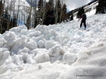 Wet avalanches can produce deep and dense piles of debris