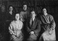 Первый коллектив библиотеки в Красных Баках