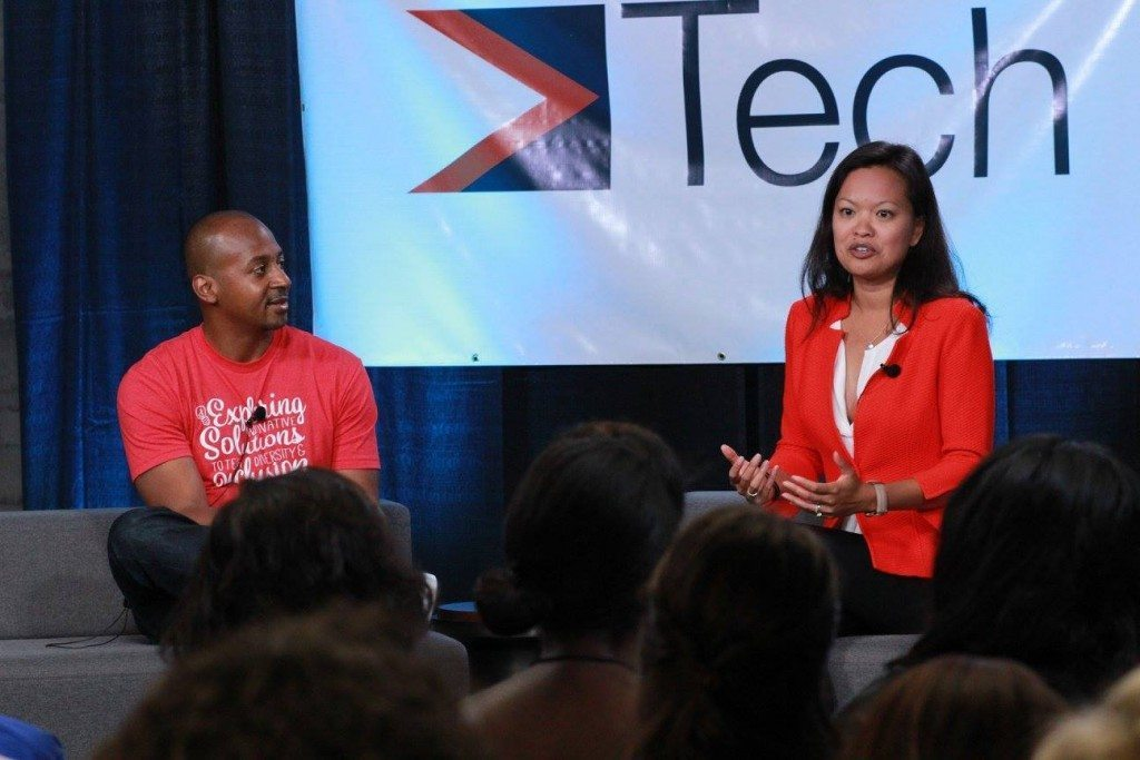 Mary Grove, Director of Google For Entrepreneurs with Wayne Sutton, Co-Founder Tech Inclusion at Tech Inclusion 2015.