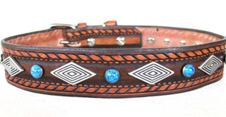 Dakota Dawg with Diamonds Leather Dog Collar