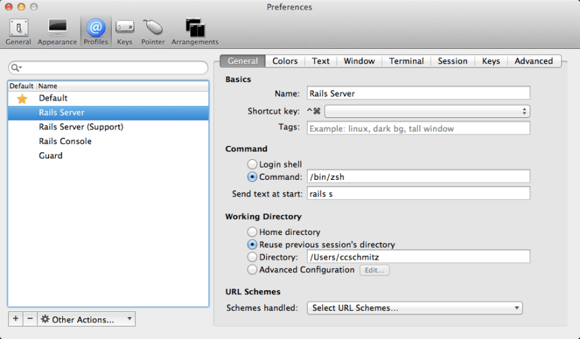 Preview of iTerm's Profiles tab