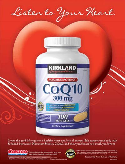 Advertisement: Kirkland Signature™ CoQ10 300 mg., 100 Softgels