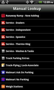 Truck Stops and Travel Plazas Mobile App Screen