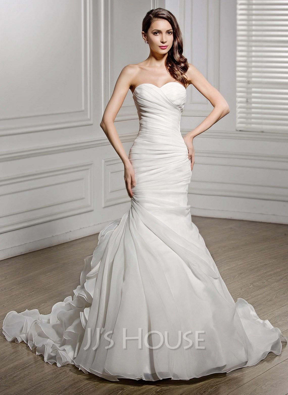 Trumpet Mermaid Sweetheart Chapel Train Organza Wedding Dress With Ruffle g jjshouse wedding dress Home Wedding Dresses Loading zoom