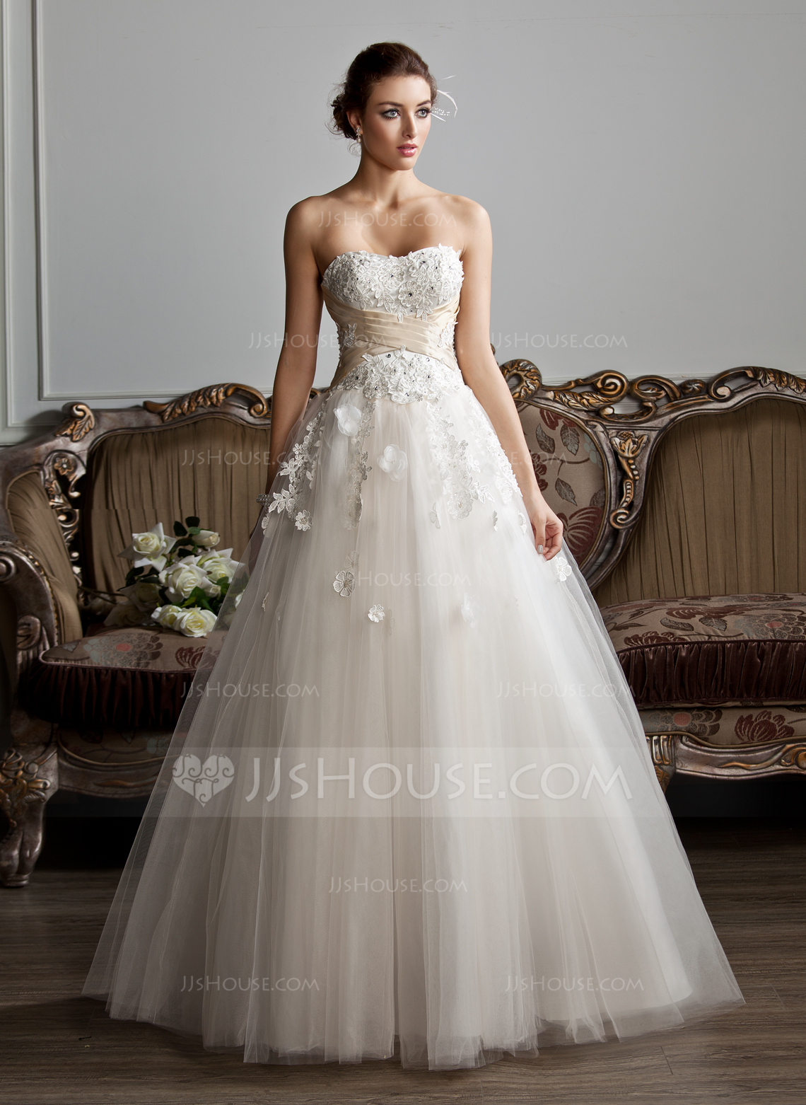 Ball Gown Sweetheart Floor Length Tulle Wedding Dress With Ruffle Sash Beading Appliques Lace Flower S g tulle wedding dress Home Wedding Dresses Loading zoom