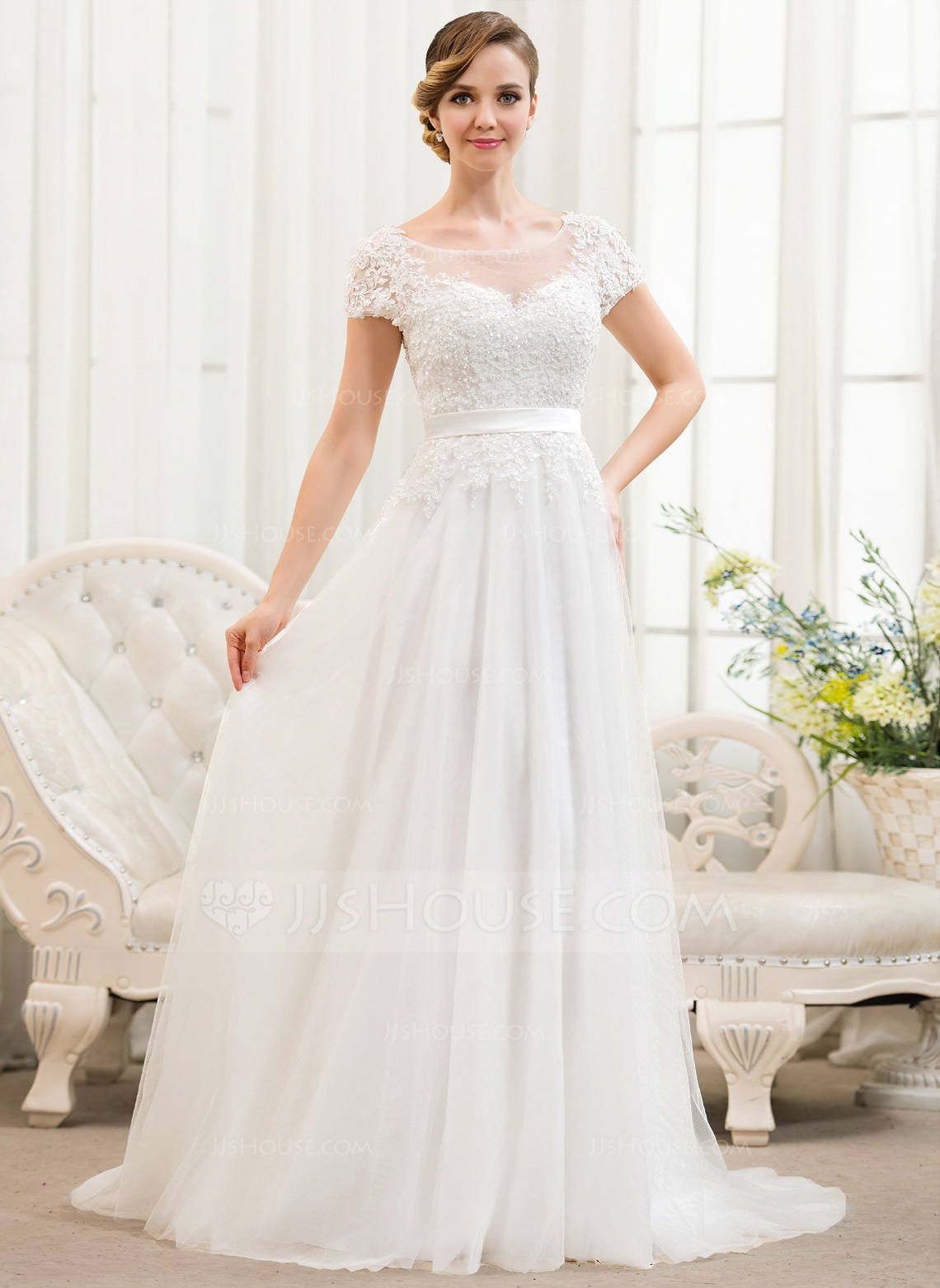 A Line Princess Scoop Neck Sweep Train Tulle Lace Wedding Dress With Beading Sequins g jjshouse wedding dress Home Wedding Dresses Loading zoom