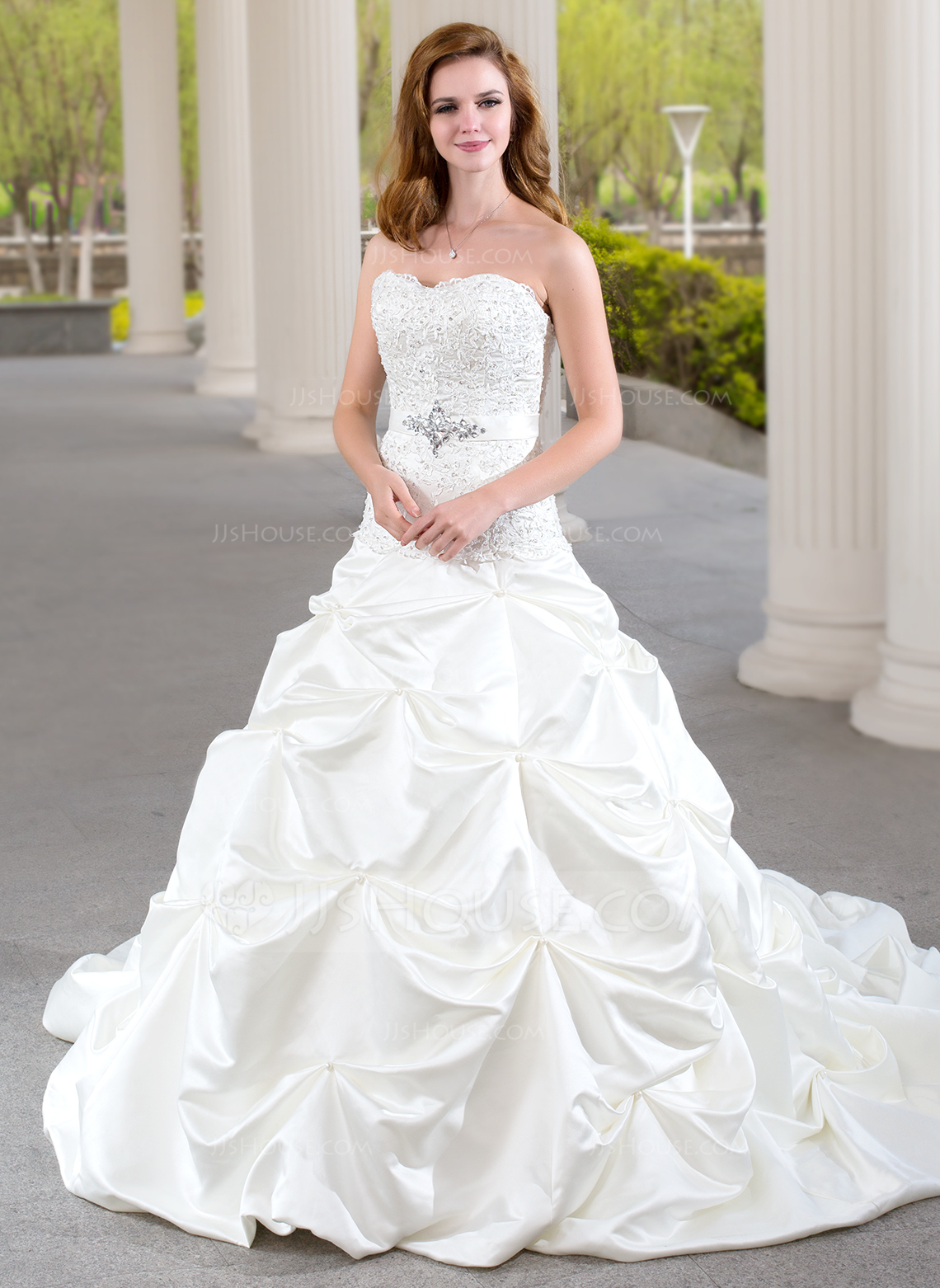 Ball Gown Sweetheart Chapel Train Satin Wedding Dress With Ruffle Lace Beading g jjshouse wedding dress Home Wedding Dresses Loading zoom