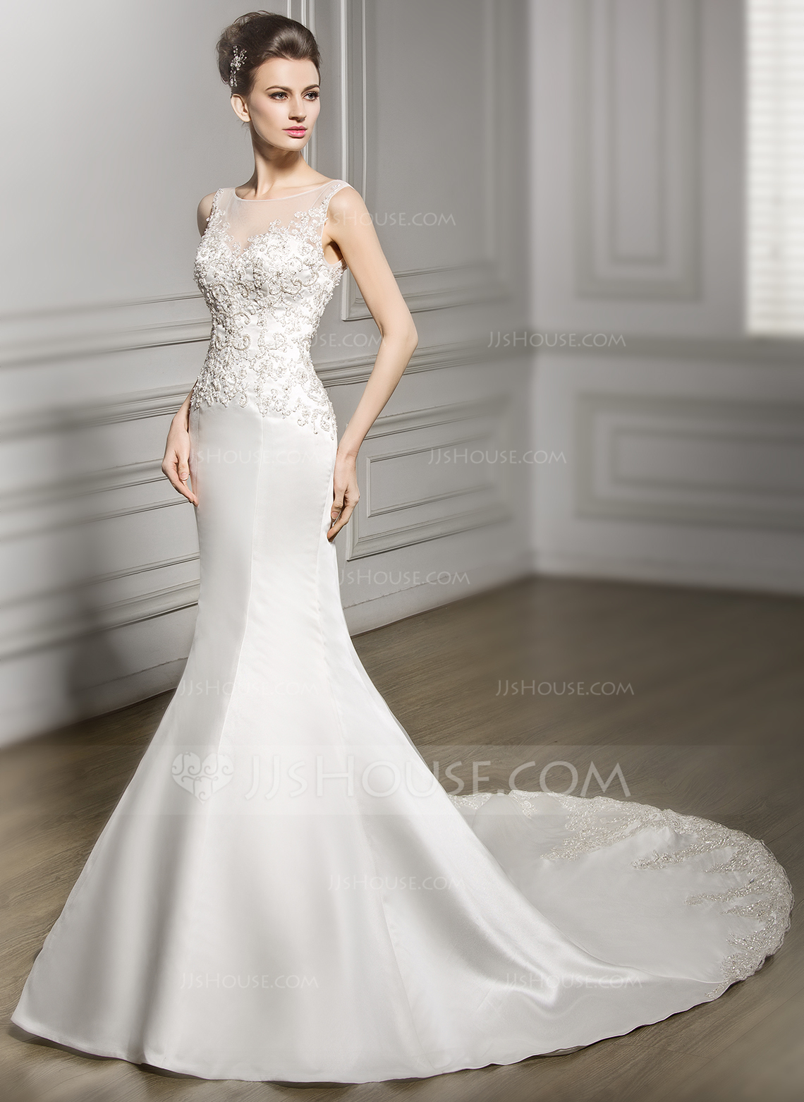 Trumpet Mermaid Scoop Neck Chapel Train Satin Lace Wedding Dress With Beading Sequins g jjshouse wedding dress Home Wedding Dresses Loading zoom