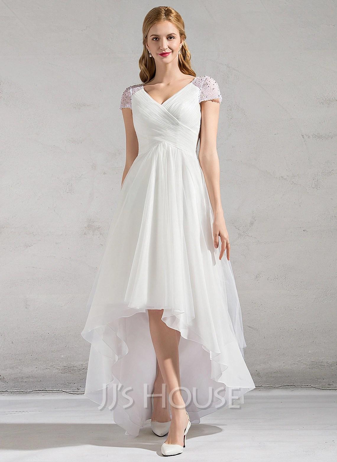 A Line Princess V Neck Asymmetrical Tulle Wedding Dress With Ruffle Beading Sequins g jjshouse wedding dress Home Wedding Dresses Loading zoom