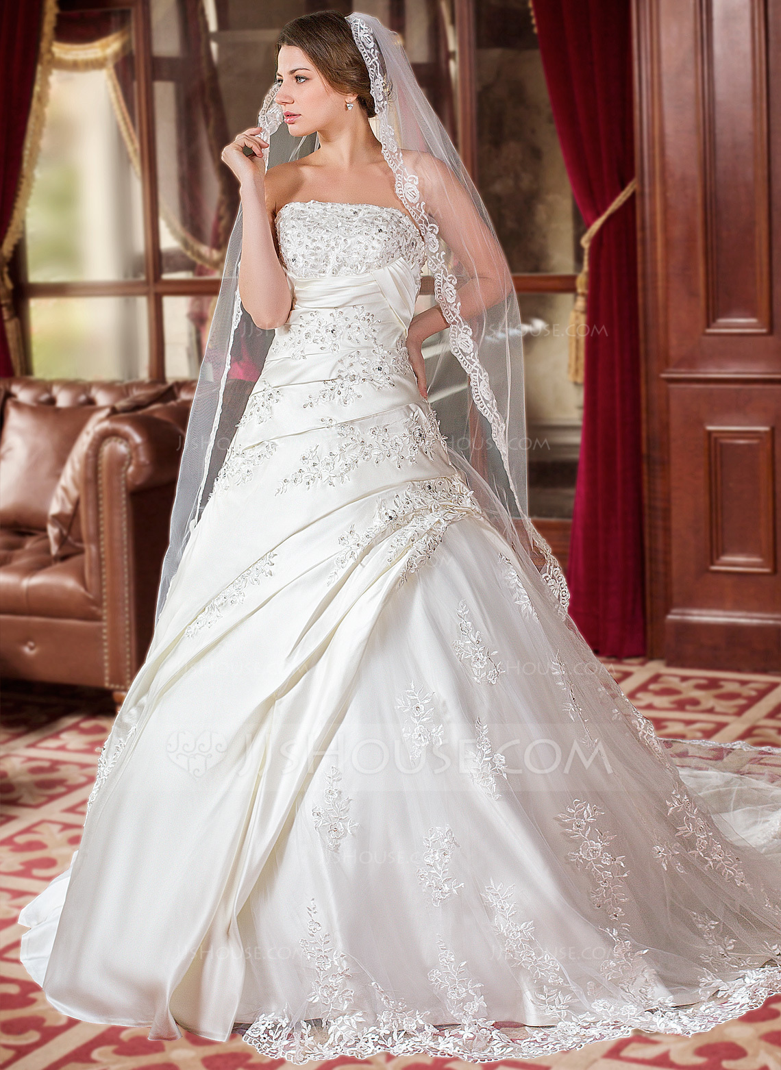 Ball Gown Strapless Chapel Train Satin Wedding Dress With Ruffle Beading Appliques Lace Sequins g jjshouse wedding dress Home Wedding Dresses Loading zoom