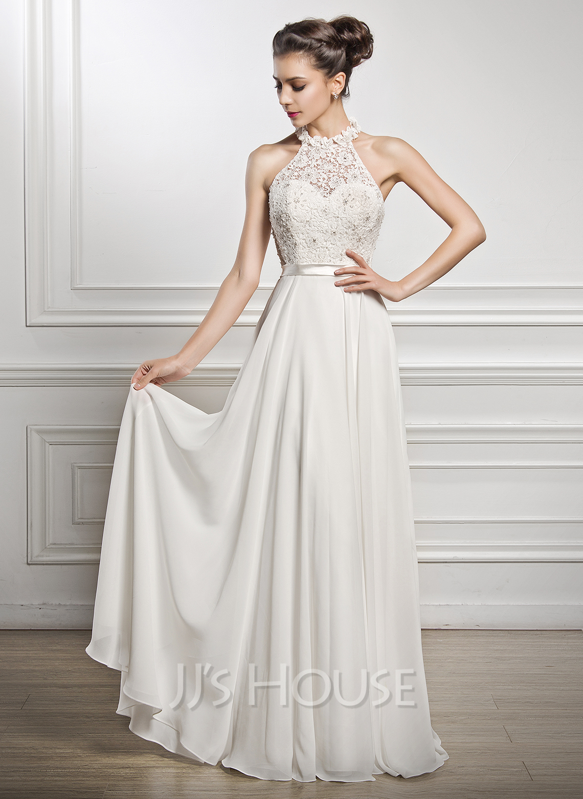 A Line Princess Scoop Neck Floor Length Chiffon Lace Wedding Dress With Beading Sequins g jjshouse wedding dress Home Wedding Dresses Loading zoom