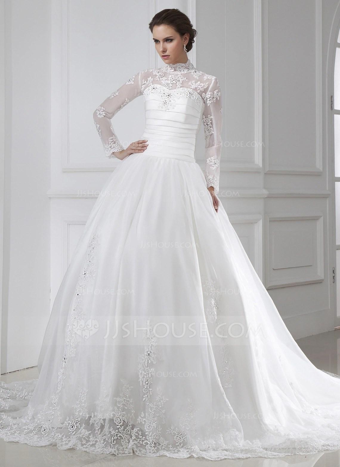 Ball Gown High Neck Chapel Train Organza Wedding Dress With Ruffle Lace Beading g jjshouse wedding dress Home Wedding Dresses Loading zoom