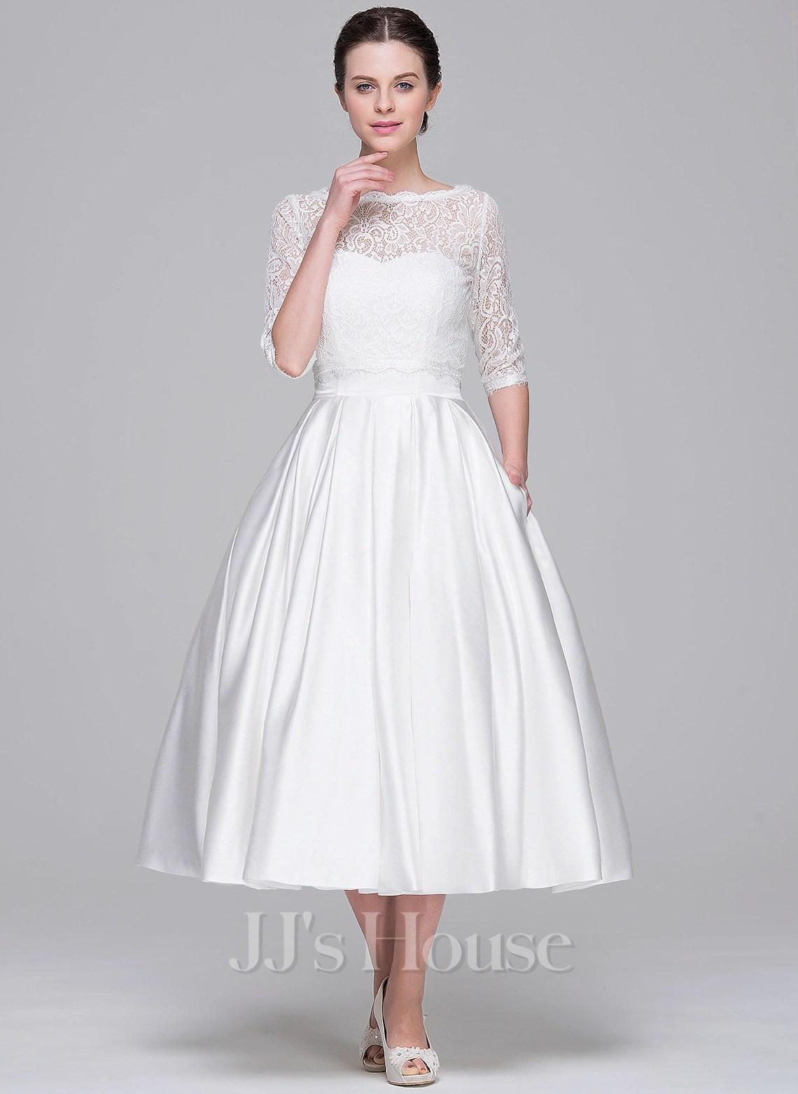 A Line Princess Sweetheart Tea Length Satin Wedding Dress g jjshouse wedding dress Home Wedding Dresses Loading zoom