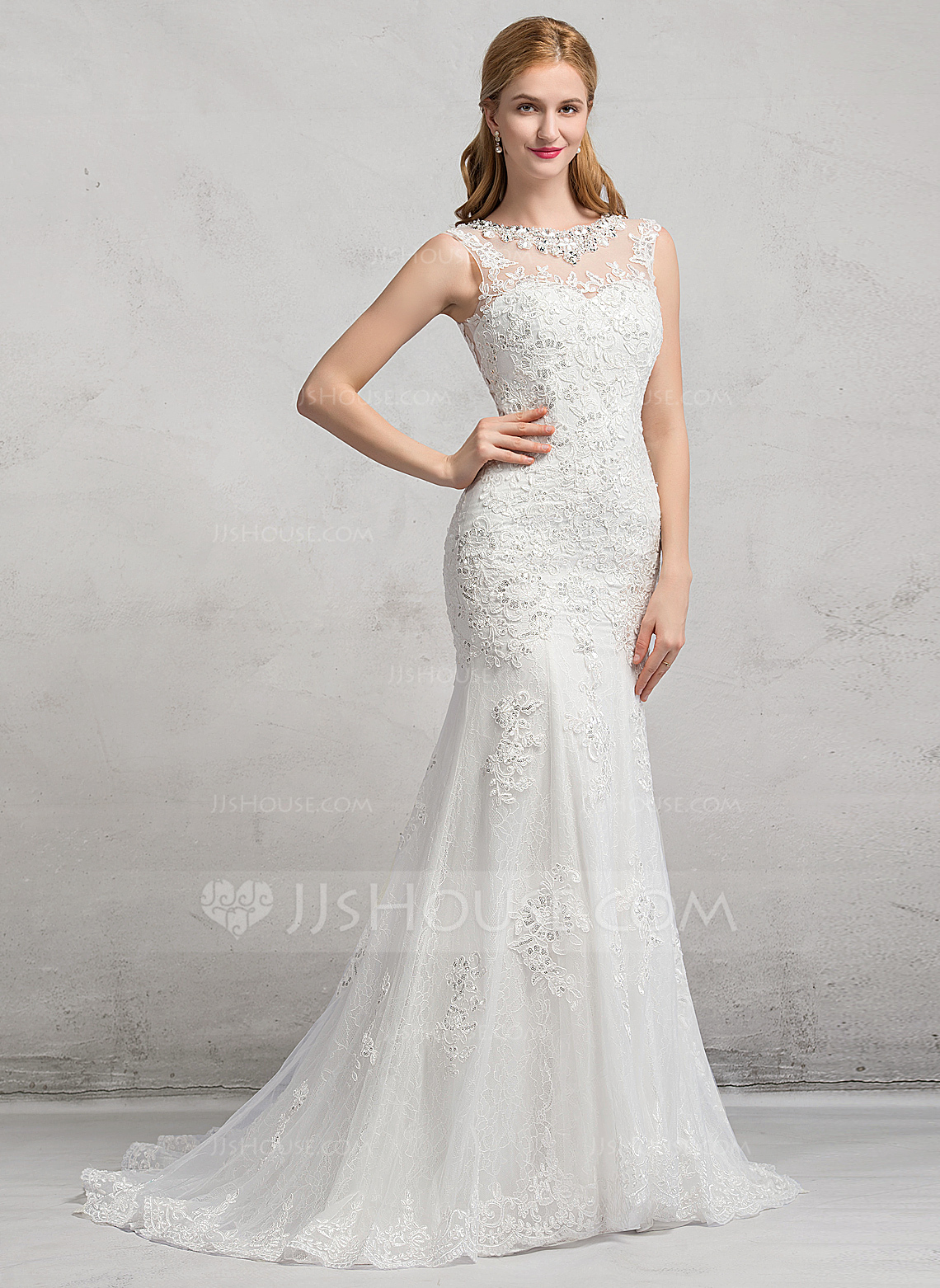 Trumpet Mermaid Scoop Neck Sweep Train Tulle Lace Wedding Dress With Beading Sequins g jjshouse wedding dress Home Wedding Dresses Loading zoom