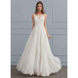 Interesting Scoop Neck Chiffon Wedding Dress Withcascading Loading Zoom Scoop Neck Chiffon Wedding Dress Cap Sleeves Chiffon Wedding Dress Beach Chiffon Wedding Dress