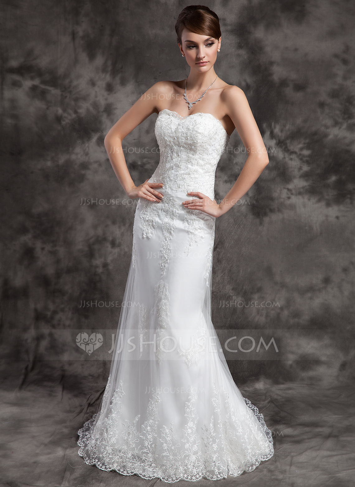Trumpet Mermaid Sweetheart Court Train Tulle Wedding Dress With Lace Beading g jjshouse wedding dress Home Wedding Dresses Loading zoom