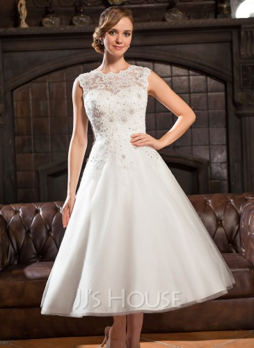 A Line Princess Scoop Neck Tea Length Tulle Lace Wedding Dress With Beading Sequins g jjshouse wedding dress Home Wedding Dresses Loading zoom
