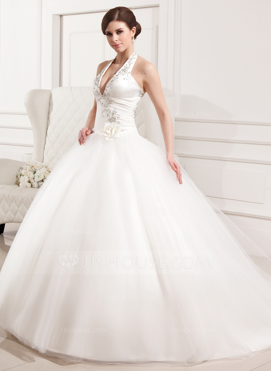 Ball Gown Halter Chapel Train Tulle Wedding Dress With Embroidered Ruffle Flower S g jjshouse wedding dress Home Wedding Dresses Loading zoom