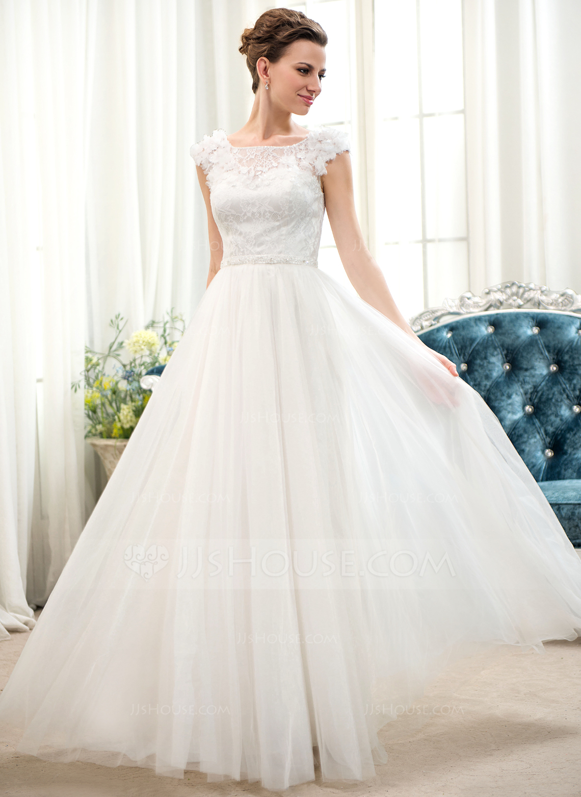 A Line Princess Scoop Neck Floor Length Tulle Lace Wedding Dress With Beading Flower S Sequins g jjshouse wedding dress Home Wedding Dresses Loading zoom