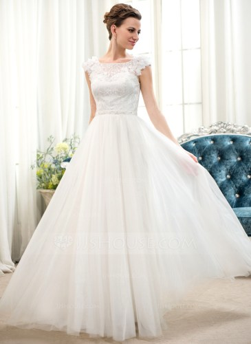 A Line Princess Scoop Neck Floor Length Tulle Lace Wedding Dress With Beading Flower S Sequins g jjs house wedding dresses Home Wedding Dresses Loading zoom