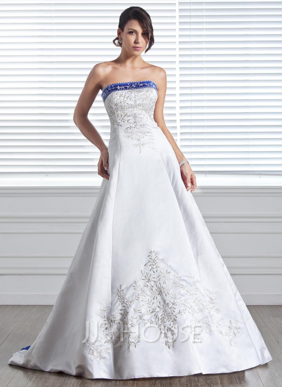 A Line Princess Strapless Court Train Satin Wedding Dress With Embroidered Sash Beading g jjshouse wedding dress Home Wedding Dresses Loading zoom
