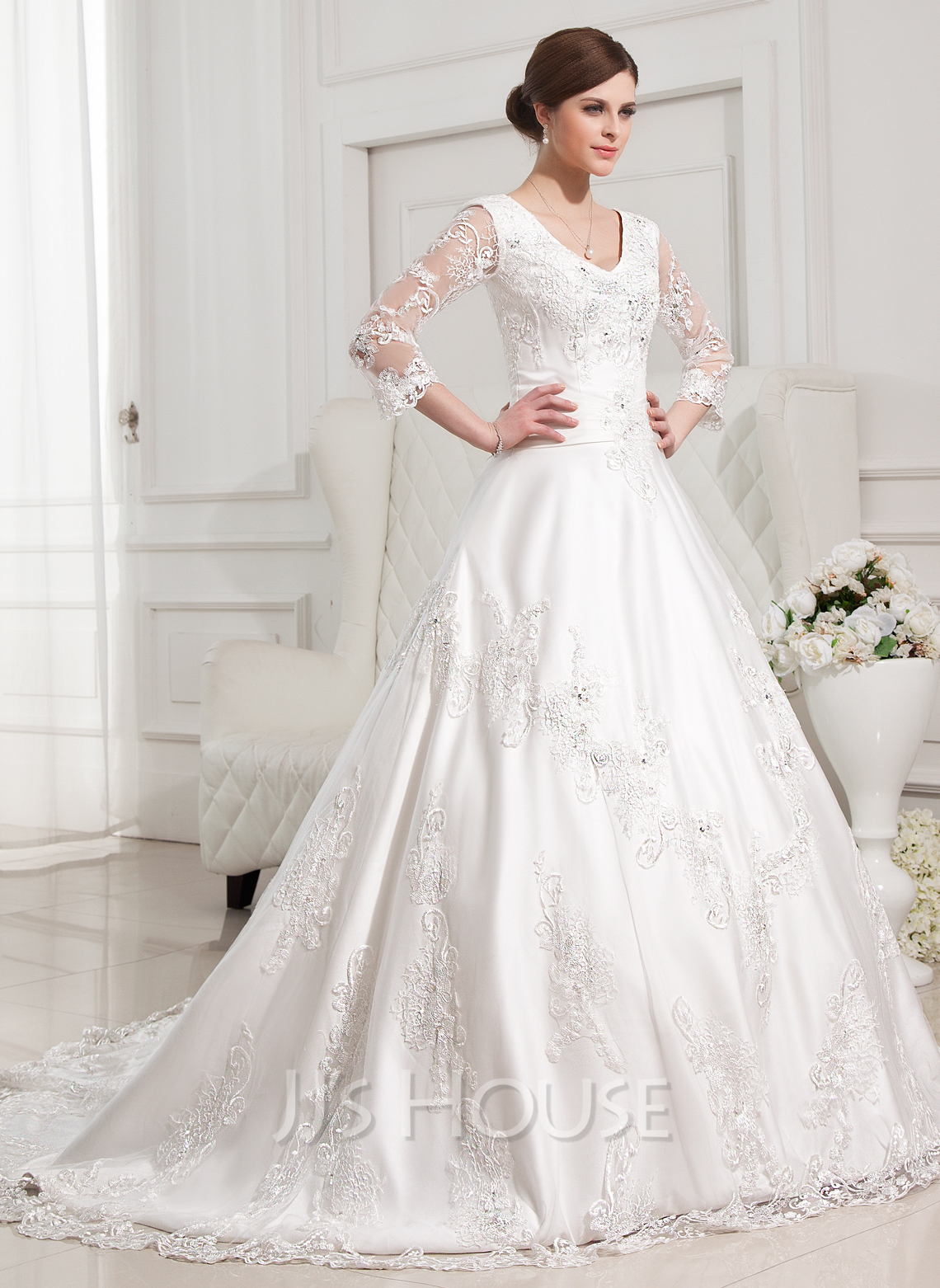 Ball Gown V Neck Chapel Train Satin Wedding Dress With Beading Appliques Lace g jjshouse wedding dress Home Wedding Dresses Loading zoom
