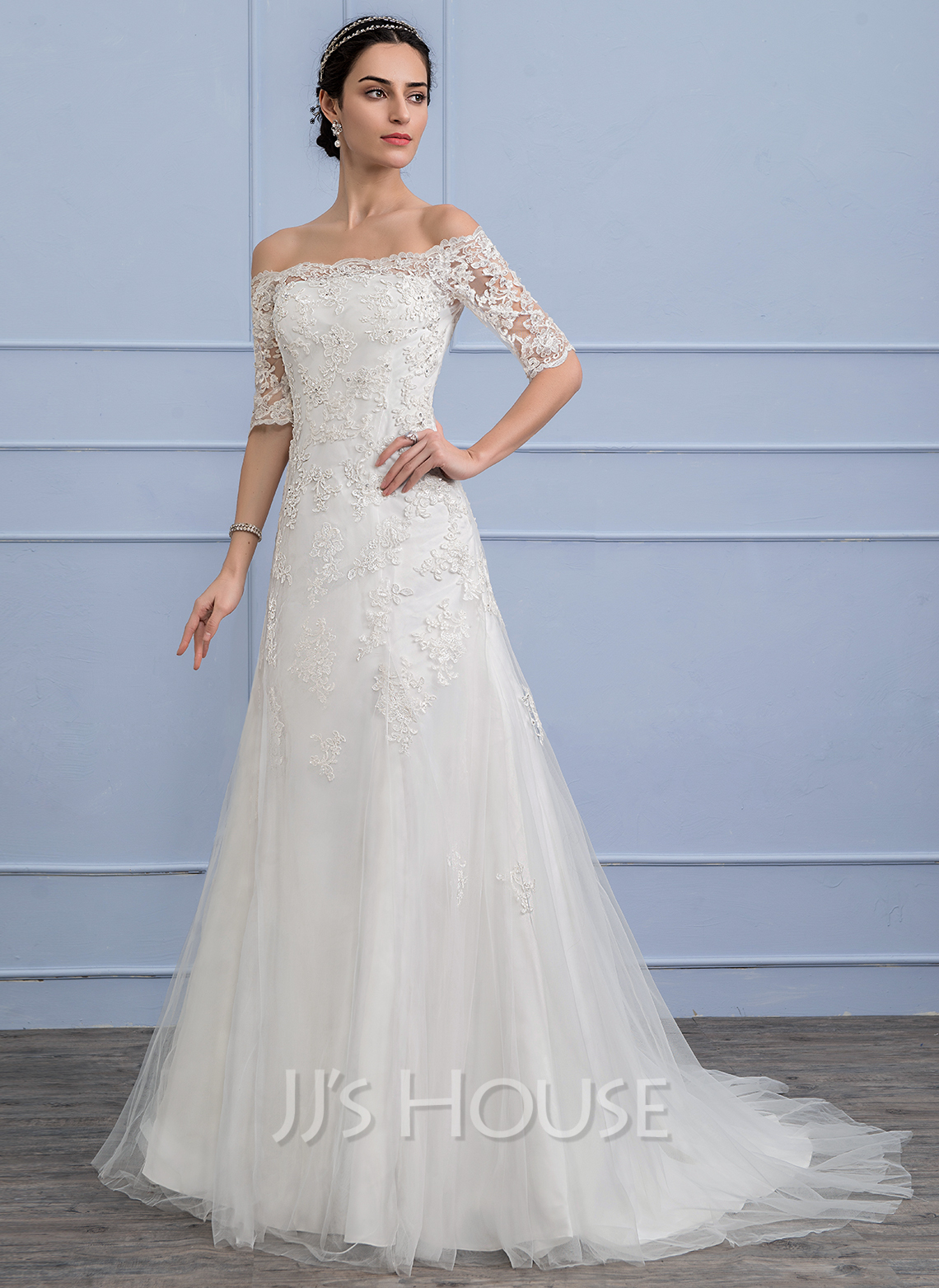 A Line Princess Off The Shoulder Court Train Tulle Lace Wedding Dress With Beading Sequins g jjshouse wedding dress Home Wedding Dresses Loading zoom