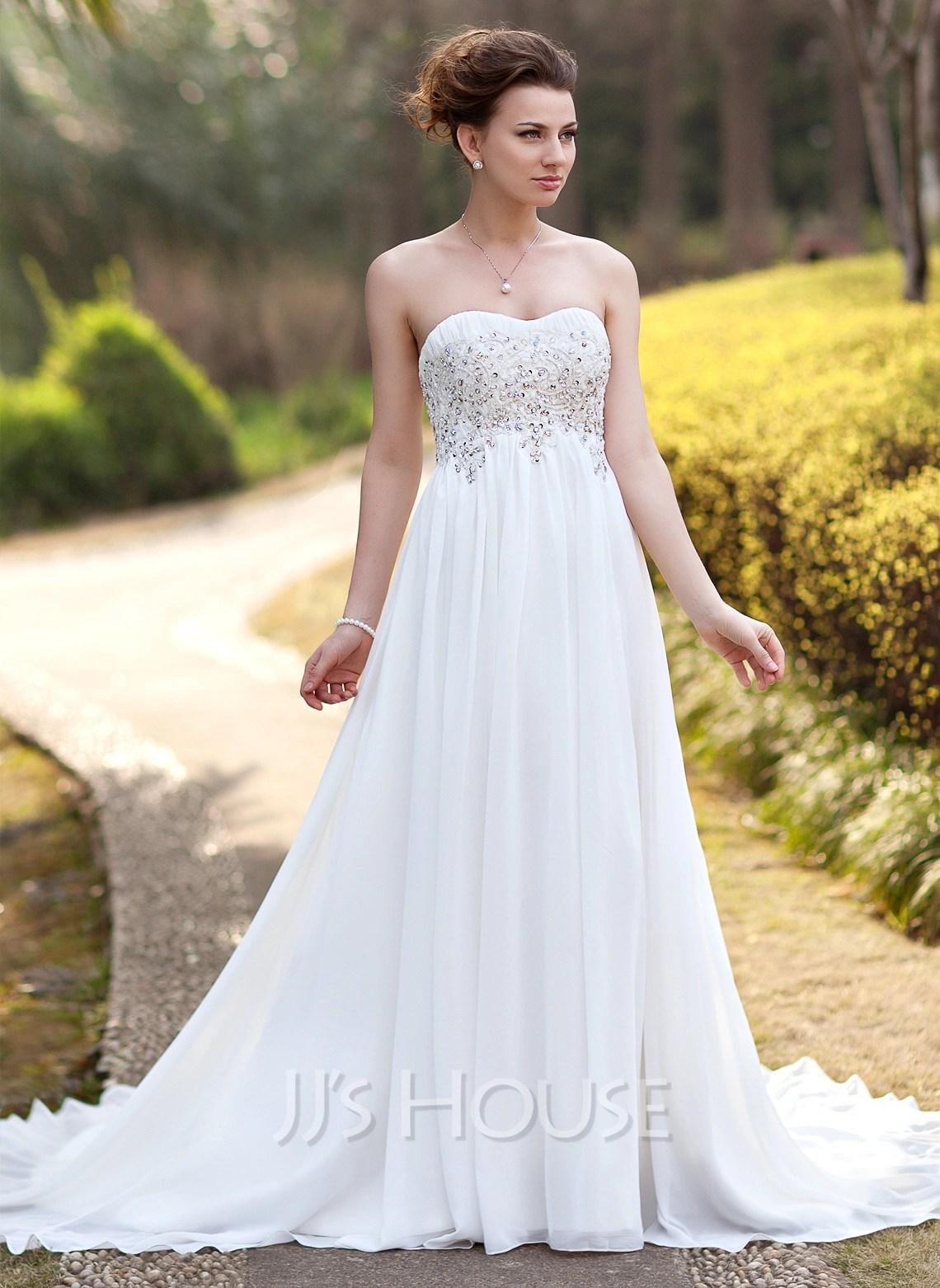 Empire Sweetheart Court Train Chiffon Wedding Dress With Ruffle Lace Beading g jjshouse wedding dress Home Wedding Dresses Loading zoom