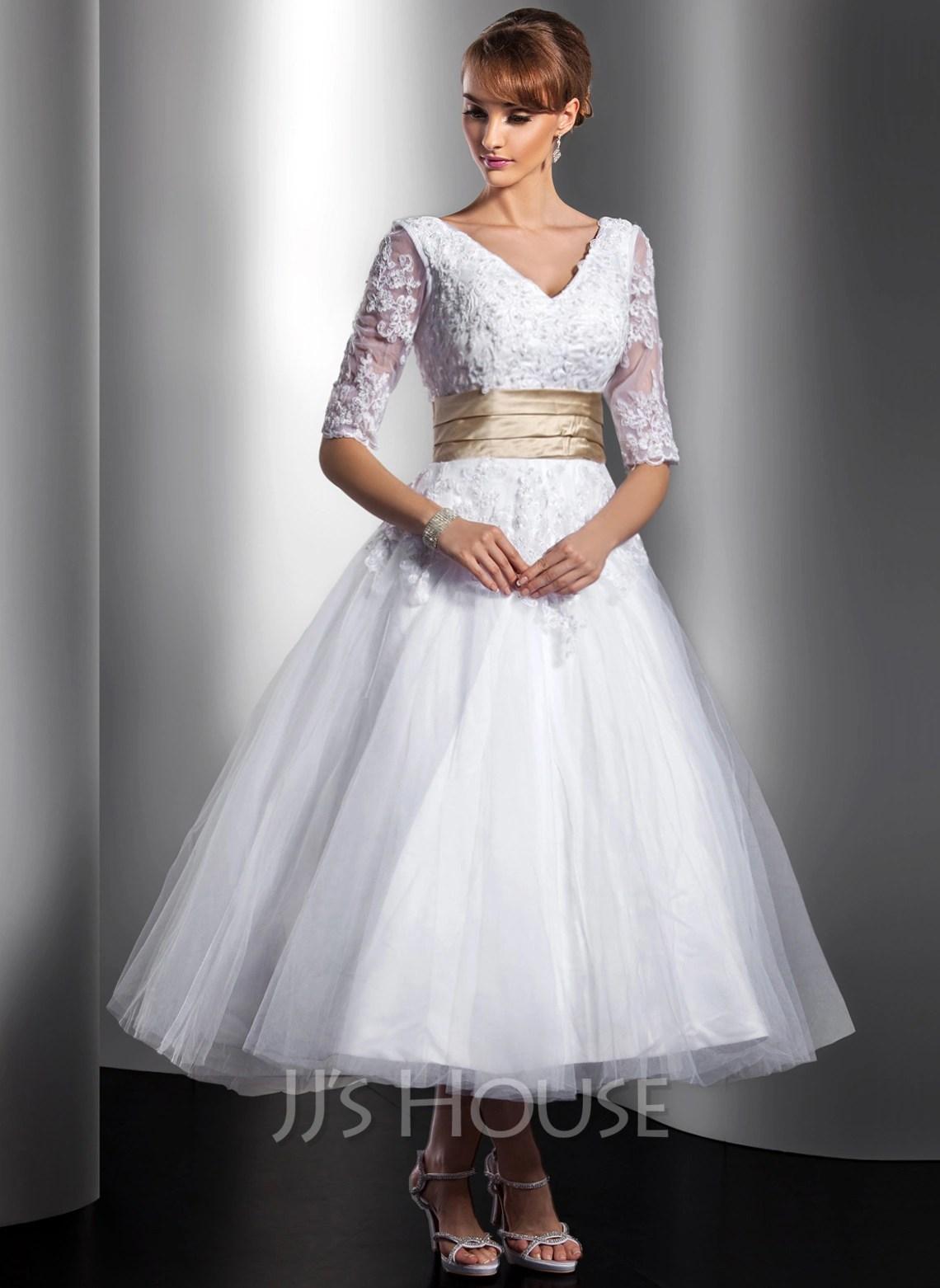 A Line Princess V Neck Tea Length Tulle Wedding Dress With Sash Beading Appliques Lace g jjshouse wedding dress Home Wedding Dresses Loading zoom