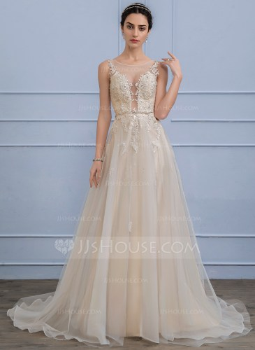 Beach p cheap wedding dress A Line Princess Scoop Neck Sweep Train Tulle Lace Wedding Dress With Beading Sequins