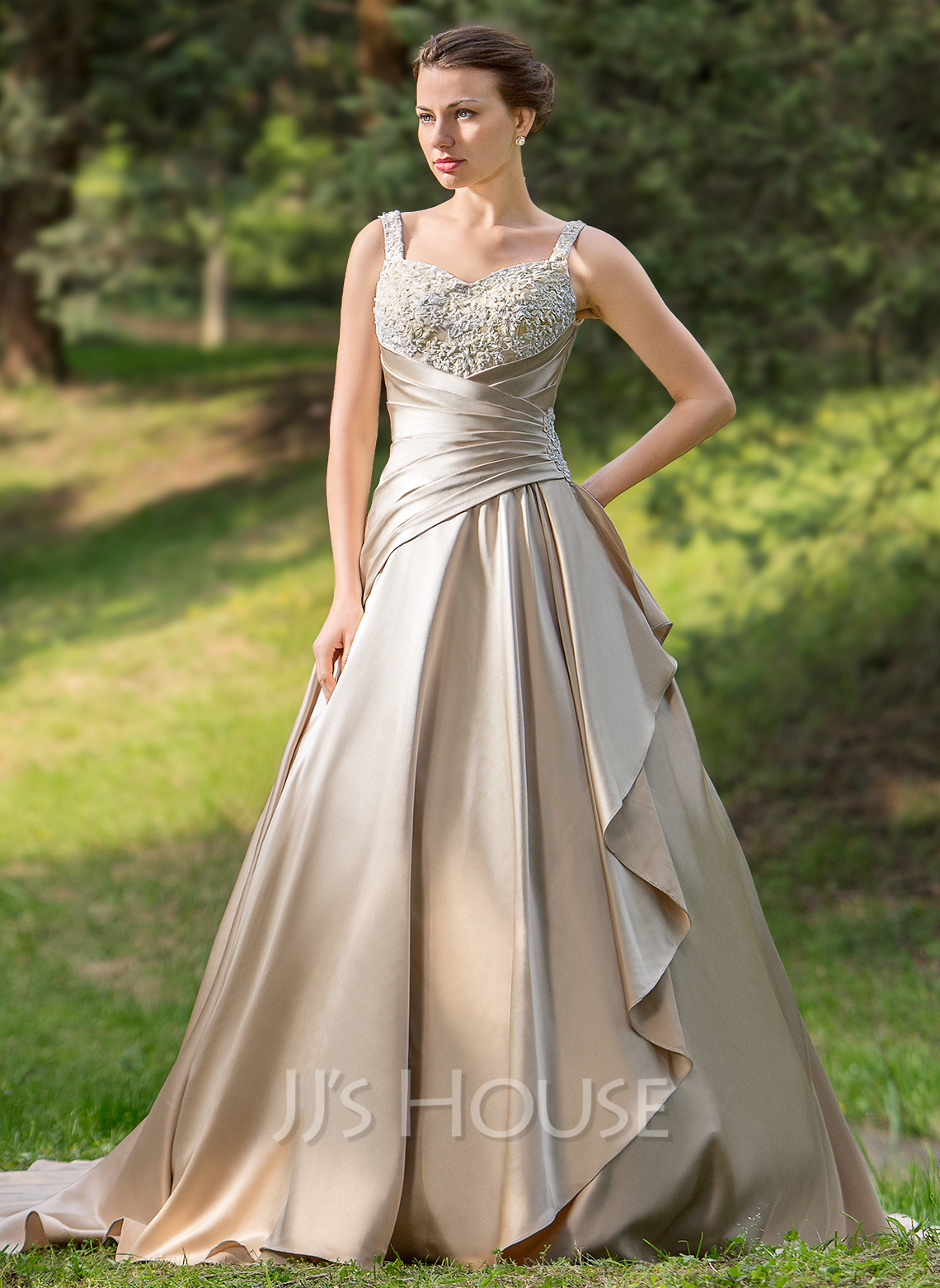 Ball Gown Sweetheart Court Train Satin Wedding Dress With Ruffle Beading Appliques Lace Cascading Ruffles g jjshouse wedding dress Home Wedding Dresses Loading zoom