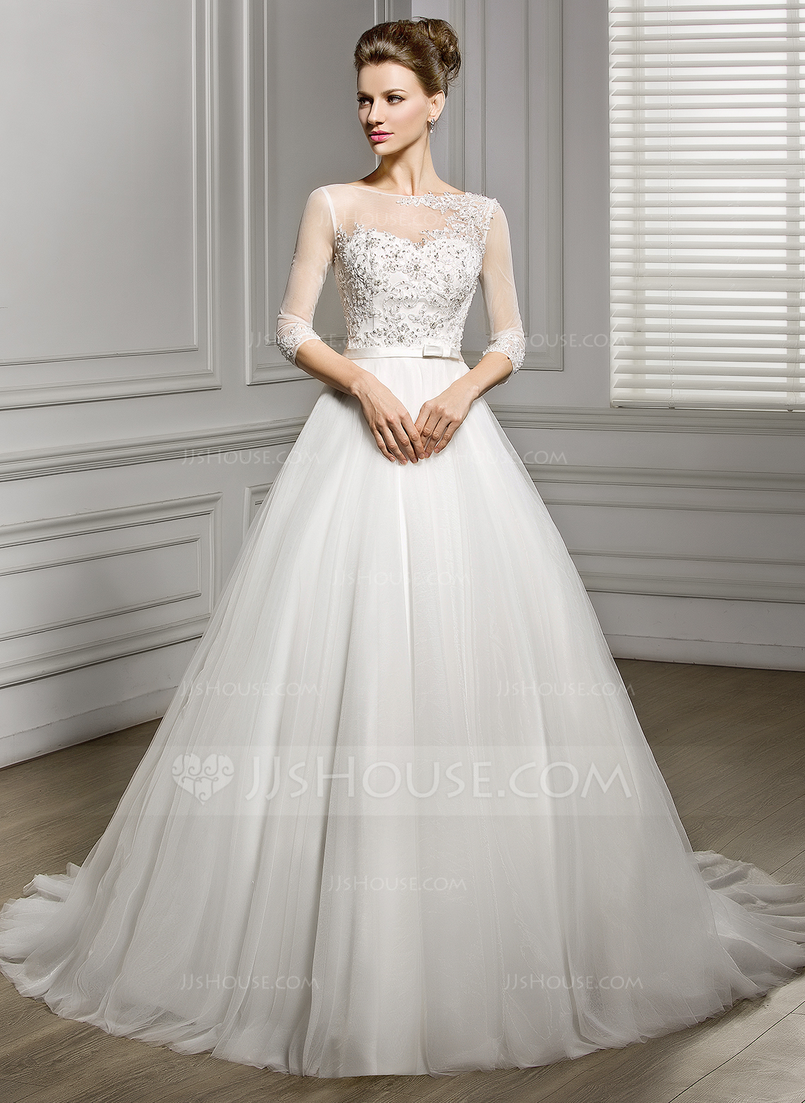 A Line Princess Scoop Neck Court Train Tulle Wedding Dress With Beading Appliques Lace Sequins Bow S g jjshouse wedding dress Home Wedding Dresses Loading zoom