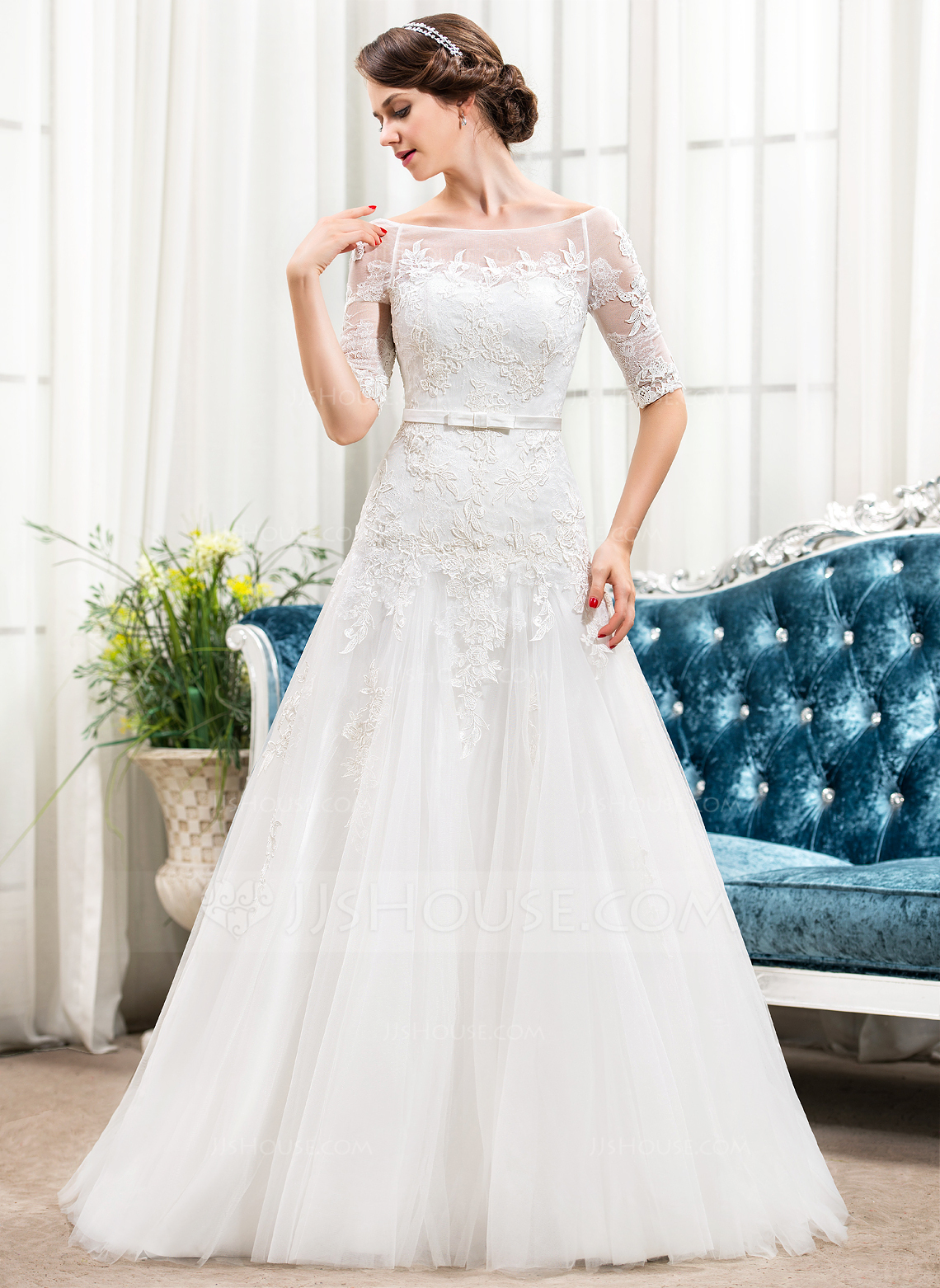 A Line Princess Off The Shoulder Sweep Train Tulle Lace Wedding Dress With Bow S g jjshouse wedding dress Home Wedding Dresses Loading zoom