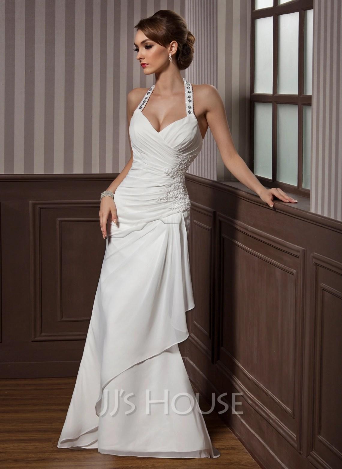 Sheath Column Halter Floor Length Chiffon Satin Wedding Dress With Beading Appliques Lace Sequins Cascading Ruffles g jjshouse wedding dress Home Wedding Dresses Loading zoom