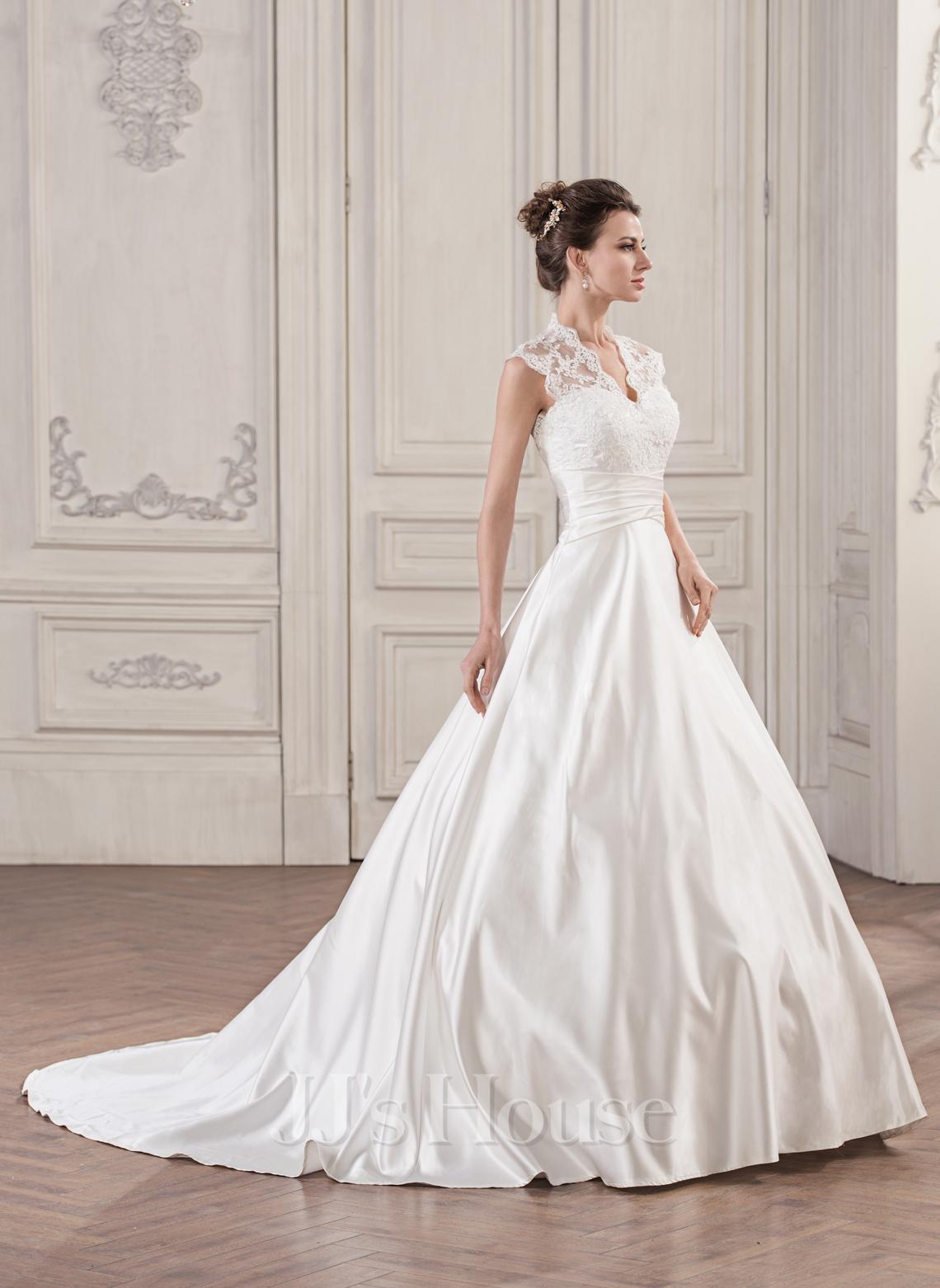 Ball Gown V Neck Court Train Satin Lace Wedding Dress With Ruffle g jjshouse wedding dress Home Wedding Dresses Loading zoom