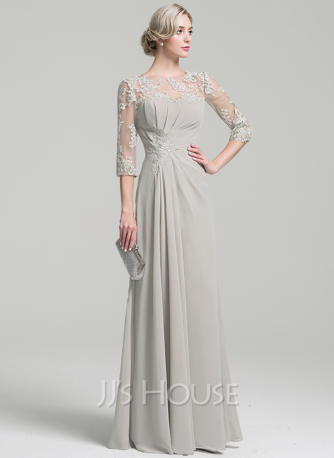 A Line Princess Scoop Neck Floor Length Chiffon Mother Of The Bride Dress With Ruffle g jjshouse wedding dress Loading zoom