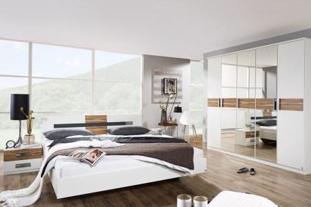 rauch brione schlafzimmer set 4tlg bett schrank 2 nachtkommoden alpinweissbaltimore walnuss dekor m ra sse sz05 1