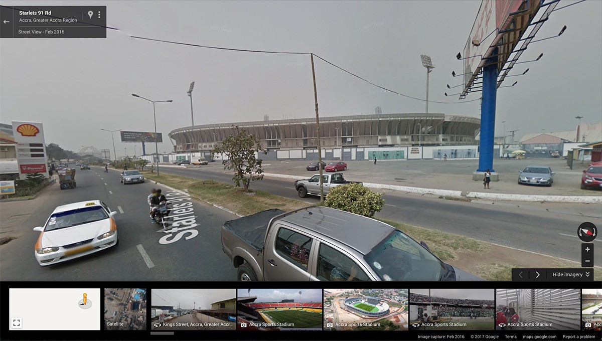 Google Maps Street View Now Available for Ghana     gharage     Medium Accra Sports Stadium on Google Maps Street View