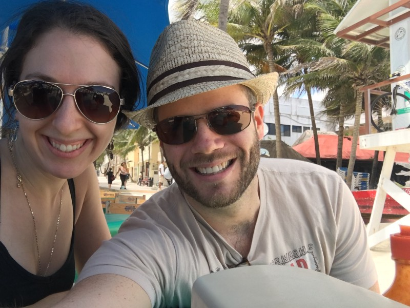 My wife and I on our first remote working trip to Playa del Carmen 🇲🇽