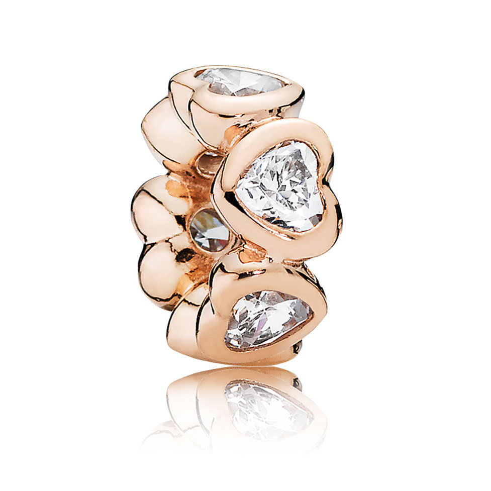 wedding ring spacer PANDORA Rose Space In My Heart with Clear CZ Spacer