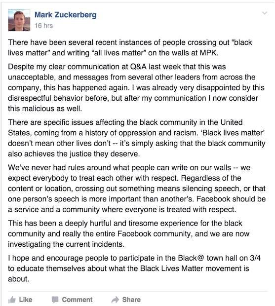 Comunicado de Zuckerberg a sus empleados