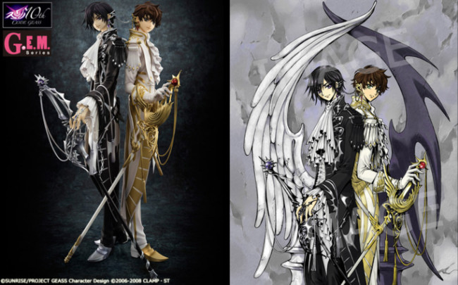 CLAMP s Illustration Inspires New Code Geass Anniversary Figure     The  G E M  Series Code Geass  Hangyaku no Lelouch R2 CLAMP works in Lelouch    Suzaku  figure will feature both the series  protagonist Lelouch and his