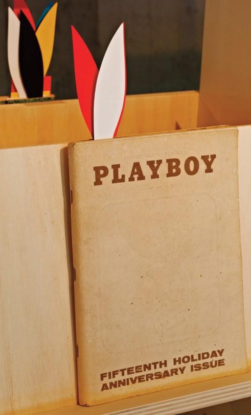 Playboy Magazine display from original exhibition at NAiM/Bureau Europa. Image courtesy of Elmhurst Art Museum.