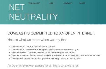 Comcast's net neutrality promise from 2014 until April 26, 2017.