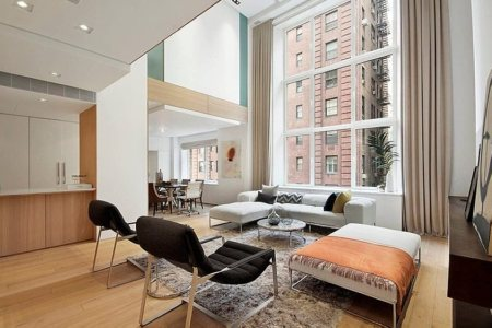 modern duplex apartment in new york living room and dining room