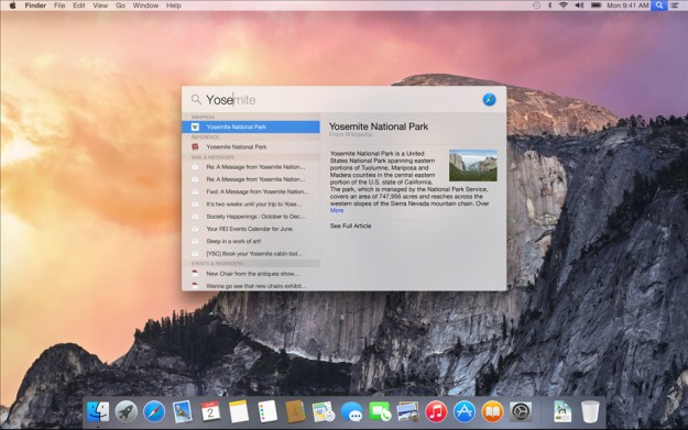 Yosemite and iOS 8 Spotlight Search Features