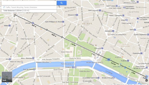 Google Maps Distance Measurement Feature