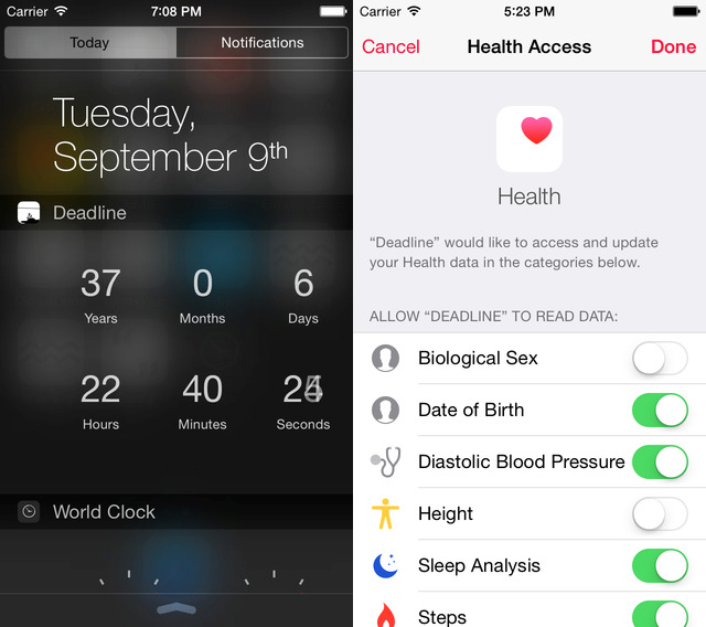 Deadline iOS 8 Health App